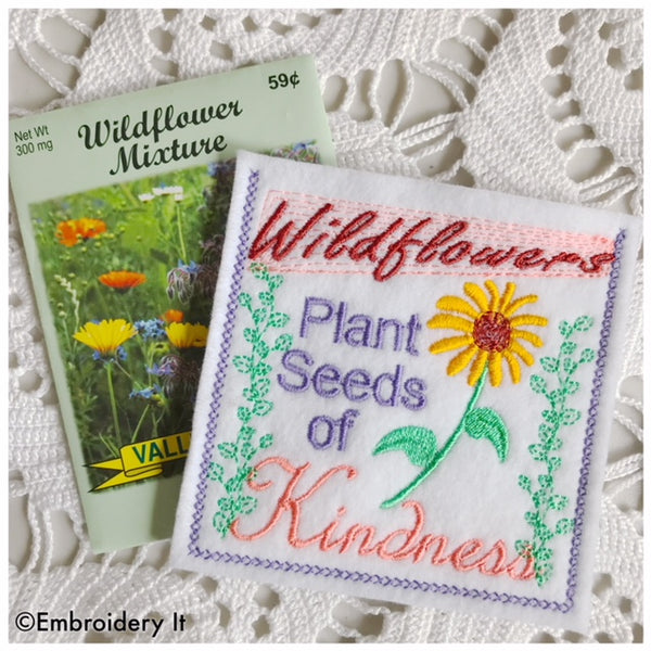 Machine embroidery kindness in the hoop seed packet pocket