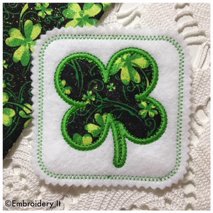 In the hoop St. Patrick's Day shamrock coaster
