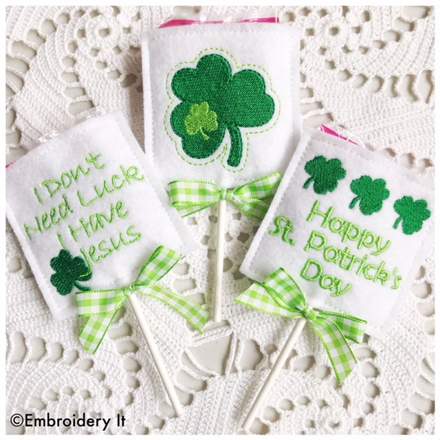 St. Patrick's Day Lollipop Covers machine embroidery designs