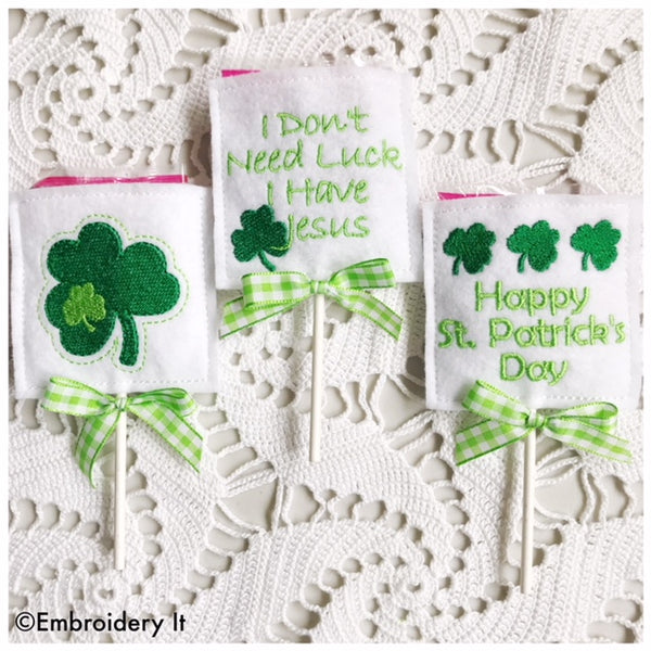 St. Patrick's Day candy holders in the hoop machine embroidery designs