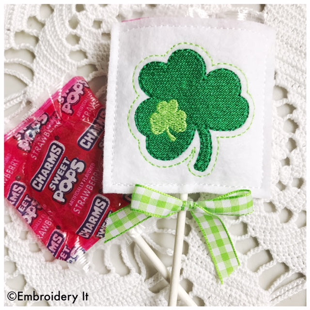 Machine embroidery shamrock lollipop cover candy holder