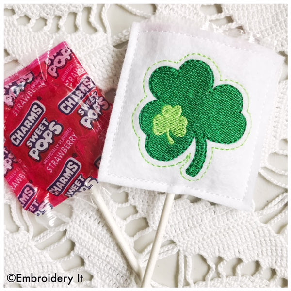 Shamrock lollipop cover machine embroidery candy holder design