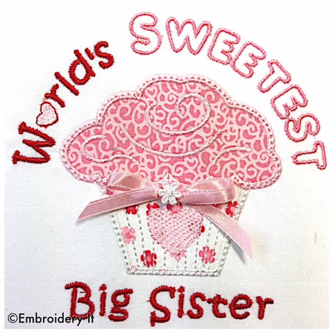 Machine embroidery big sister applique design
