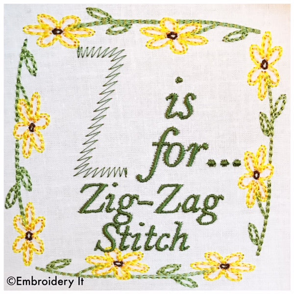 Embroidery Words z is for zig zag machine embroidery design