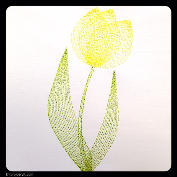 Painted tulip machine embroidery pattern