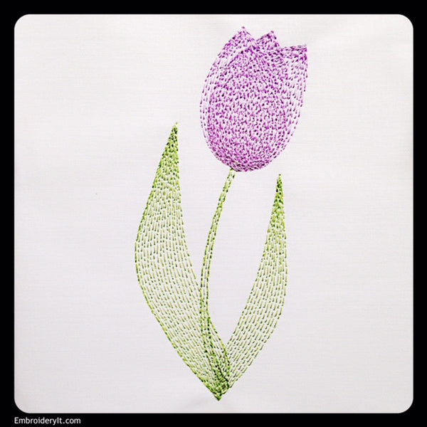 Painted tulip machine embroidery design