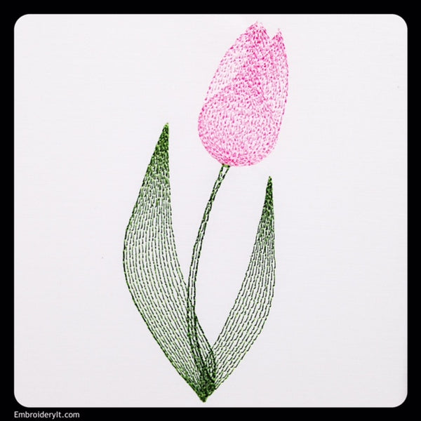 machine embroidery painted tulip design