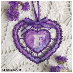 Cutwork knobby heart alphabet letter F