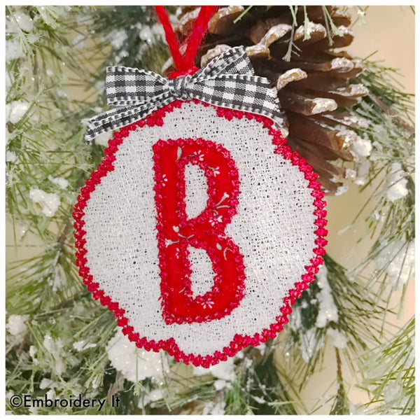 Applique monogram free standing lace Christmas tag