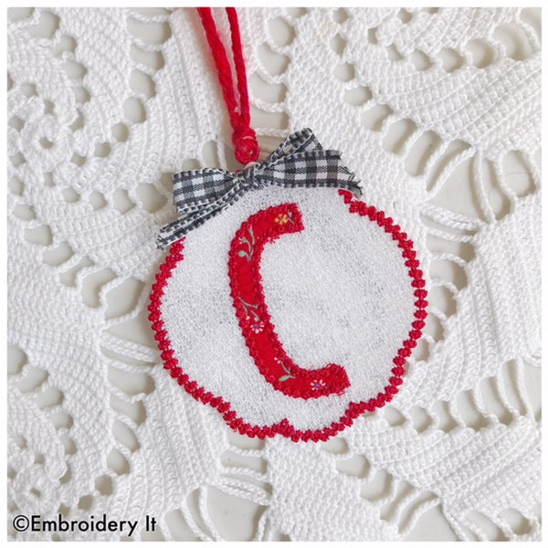 Free Standing Lace monogram letter C with applique