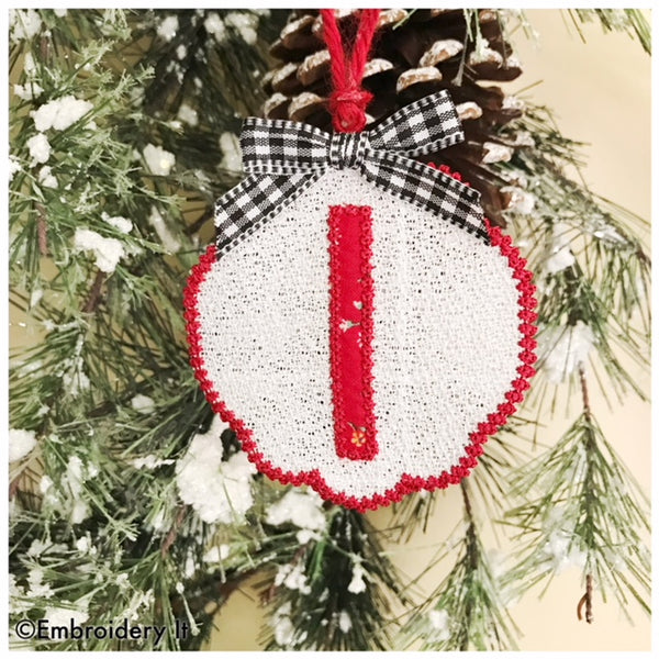 Letter I free standing lace Christmas Ornament