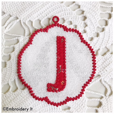 Machine embroidery Letter J free standing lace design