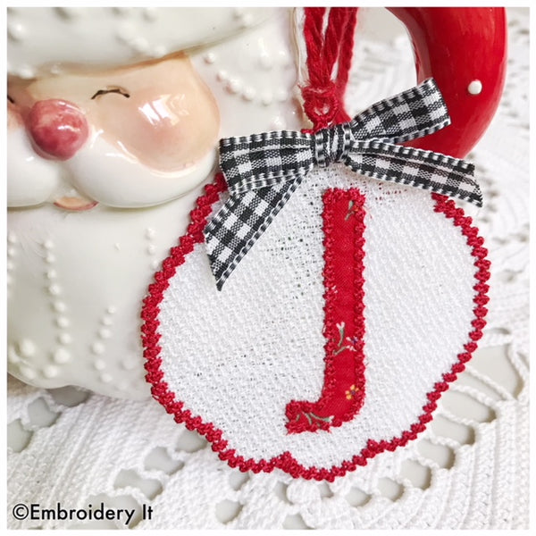 Letter J Free standing lace machine embroidery Christmas ornament