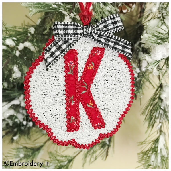Letter K Freestanding Lace machine embroidery design