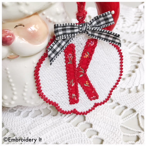 Letter K FSL Applique Christmas Ornament machine embroidery design