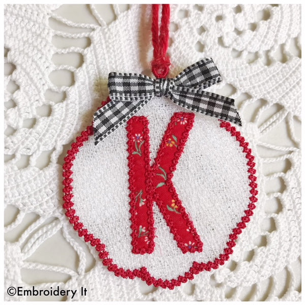 Letter K Free Standing Lace machine Embroidery in the hoop design