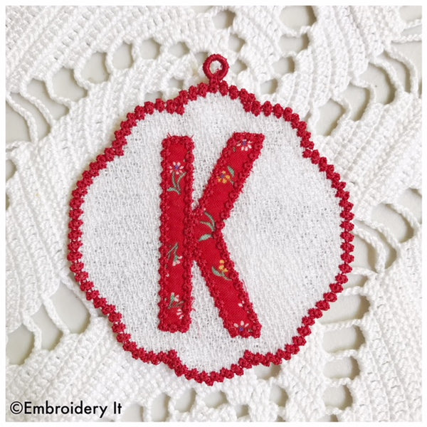 Machine embroidery Christmas Ornament monogram design