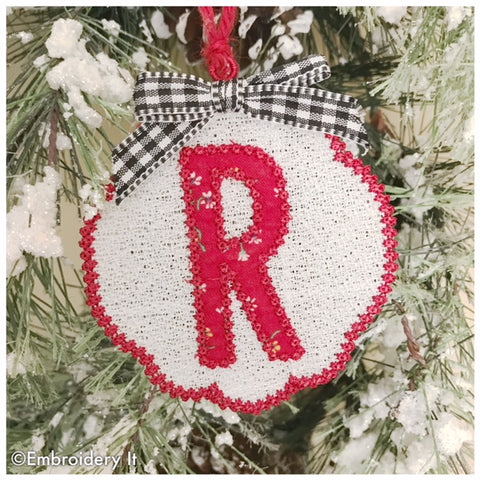 Free standing lace applique ornament letter R