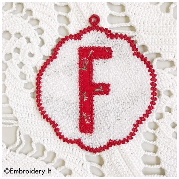Machine embroidery free standing lace alphabet