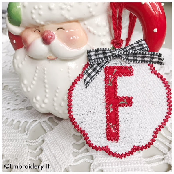 monogram Christmas ornament machine embroidery design