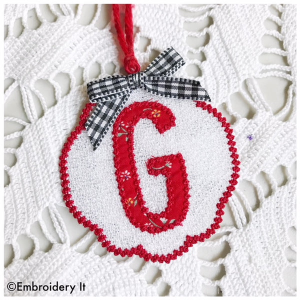 Freestanding lace monogram Christmas ornament and gift tag