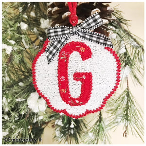 Free Standing lace Christmas monogram ornament
