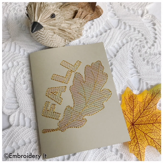Machine embroidery mylar fall card