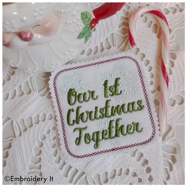in the hoop machine embroidery design our first Christmas together coaster