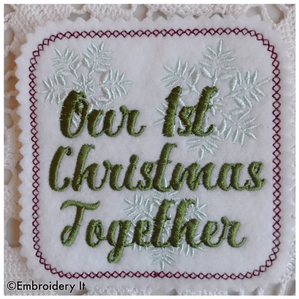 Machine embroidery coaster and gift tag in the hoop our first Christmas together