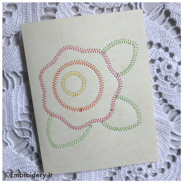 Flower card made stitching on paper using the embroidery machine