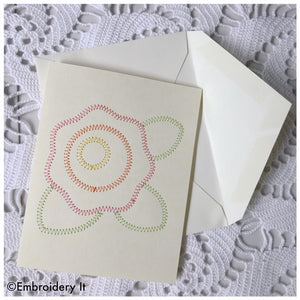 Machine embroidery flower card design