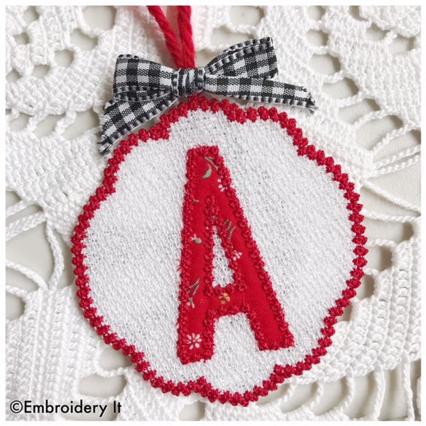 free standing lace applique letter a machine embroidery design