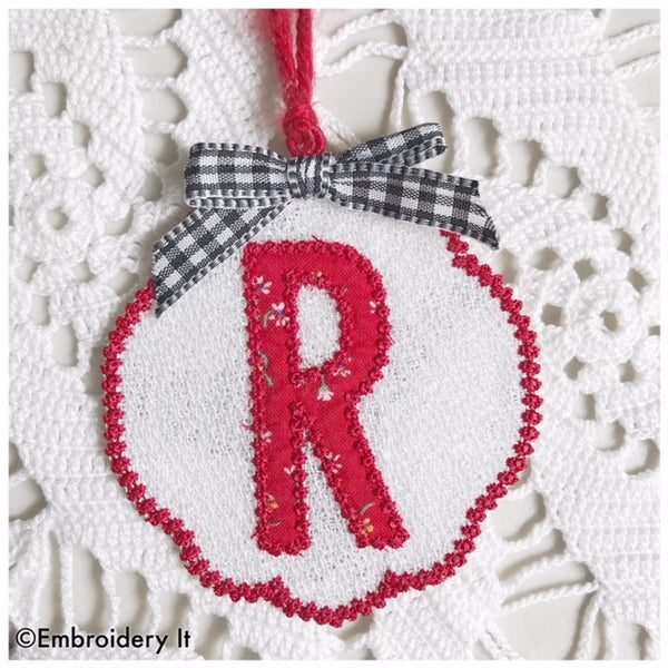 Free standing lace letter R Christmas ornament and gift tag