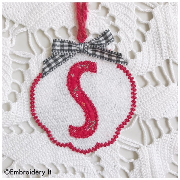 machine embroidery gift tag monogram letter S