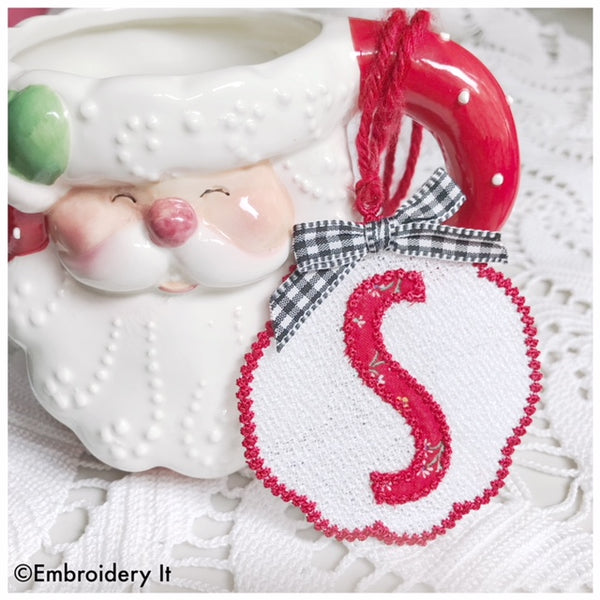 Machine embroidery monogram free standing lace letter S