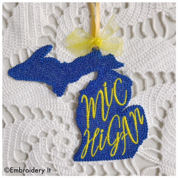 Freestanding lace Michigan gift tag