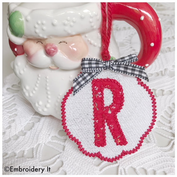freestanding lace applique gift tag letter R