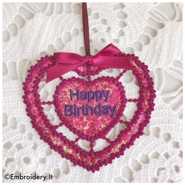 machine embroidery happy birthday ornament or tag
