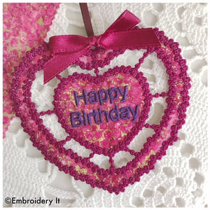 Cutwork machine embroidery happy birthday gift tag