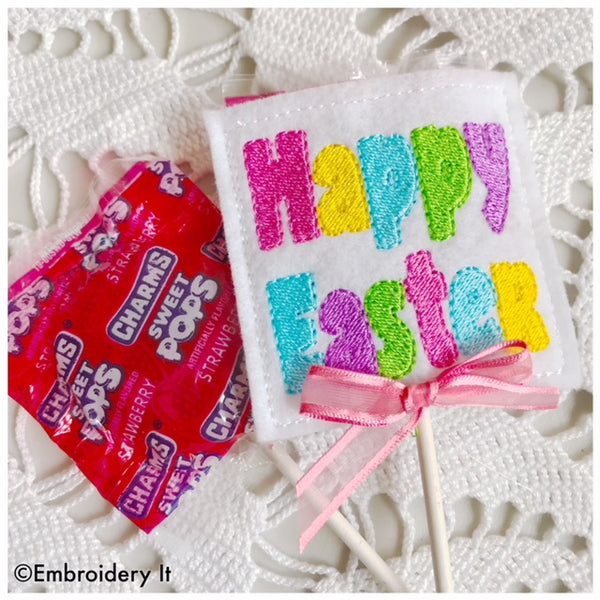 machine embroidery Easter candy holder