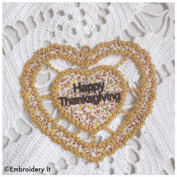 Machine embroidery cutwork Thanksgiving design