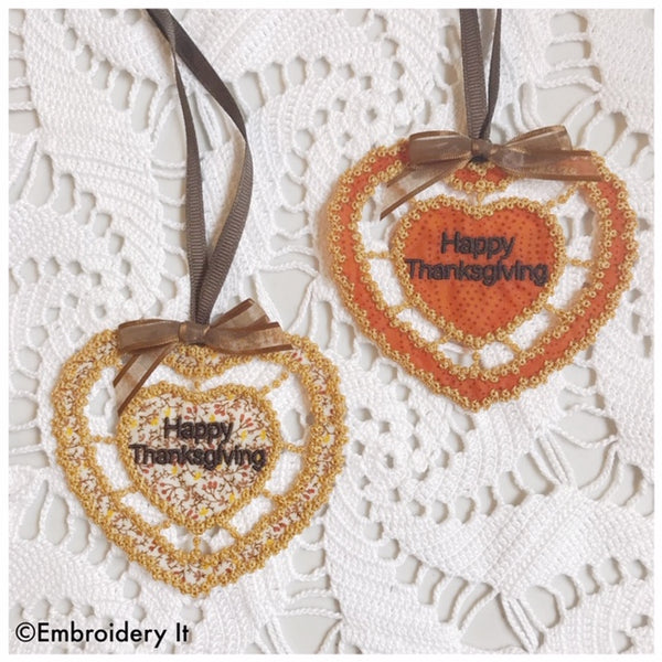 Machine embroidery cutwork happy Thanksgiving heart design