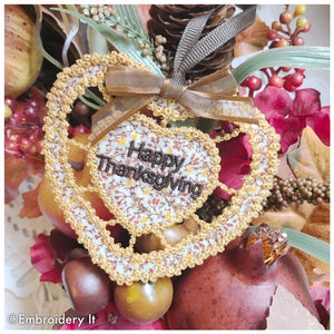 Cutwork knobby heart Happy Thanksgiving machine embroidery design