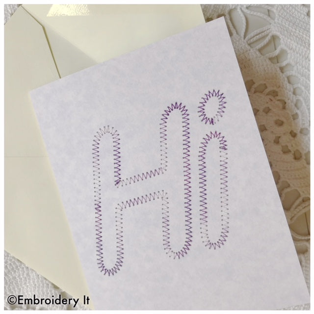 Machine embroidery Hi card