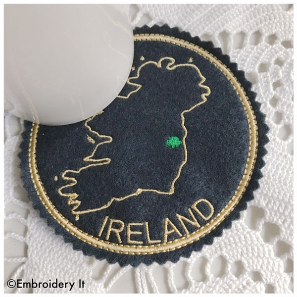 Ireland machine embroidery in the hoop coaster