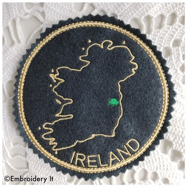 machine embroidery Ireland coaster in the hoop design