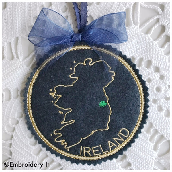 Ireland machine embroidery Christmas Ornament
