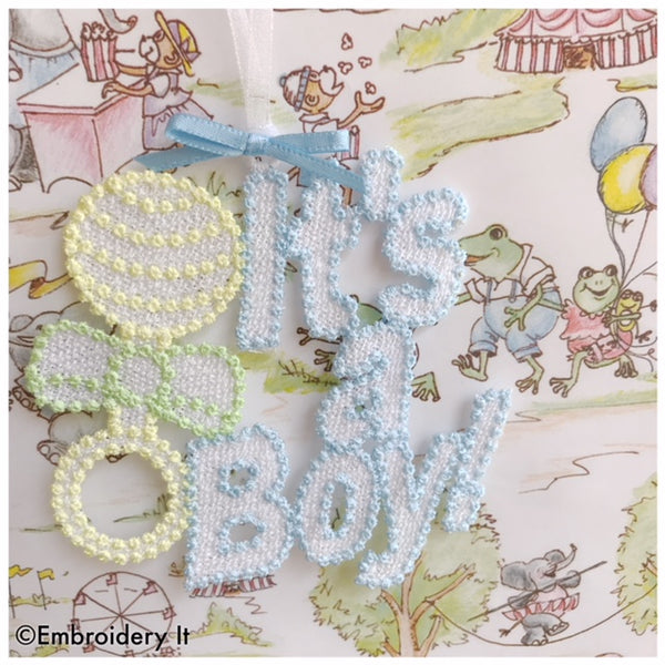 It's a boy tag machine embroidery free standing lace