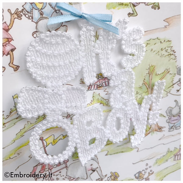 Machine embroidery Free Standing lace It's a boy Tag
