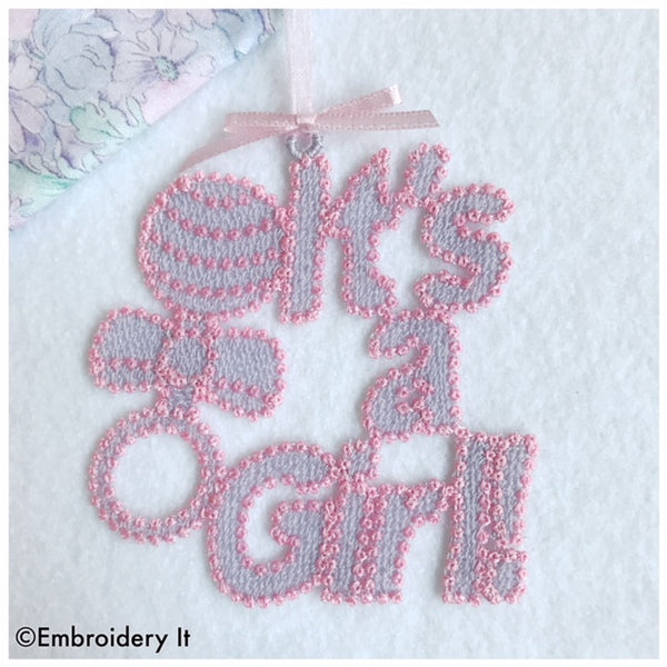 it's a girl free standing lace tag machine embroidery design